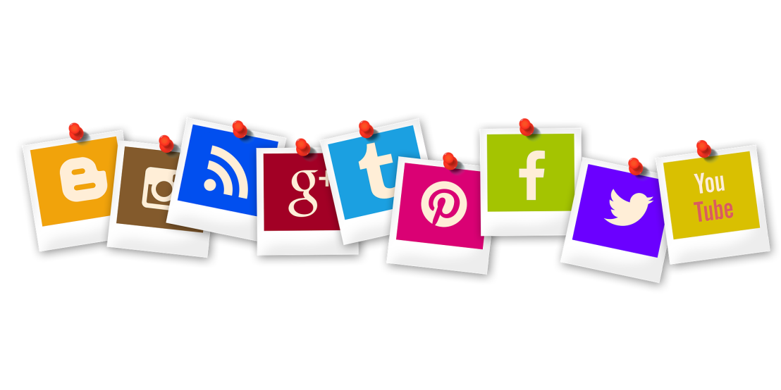 social media icons pinned to a board