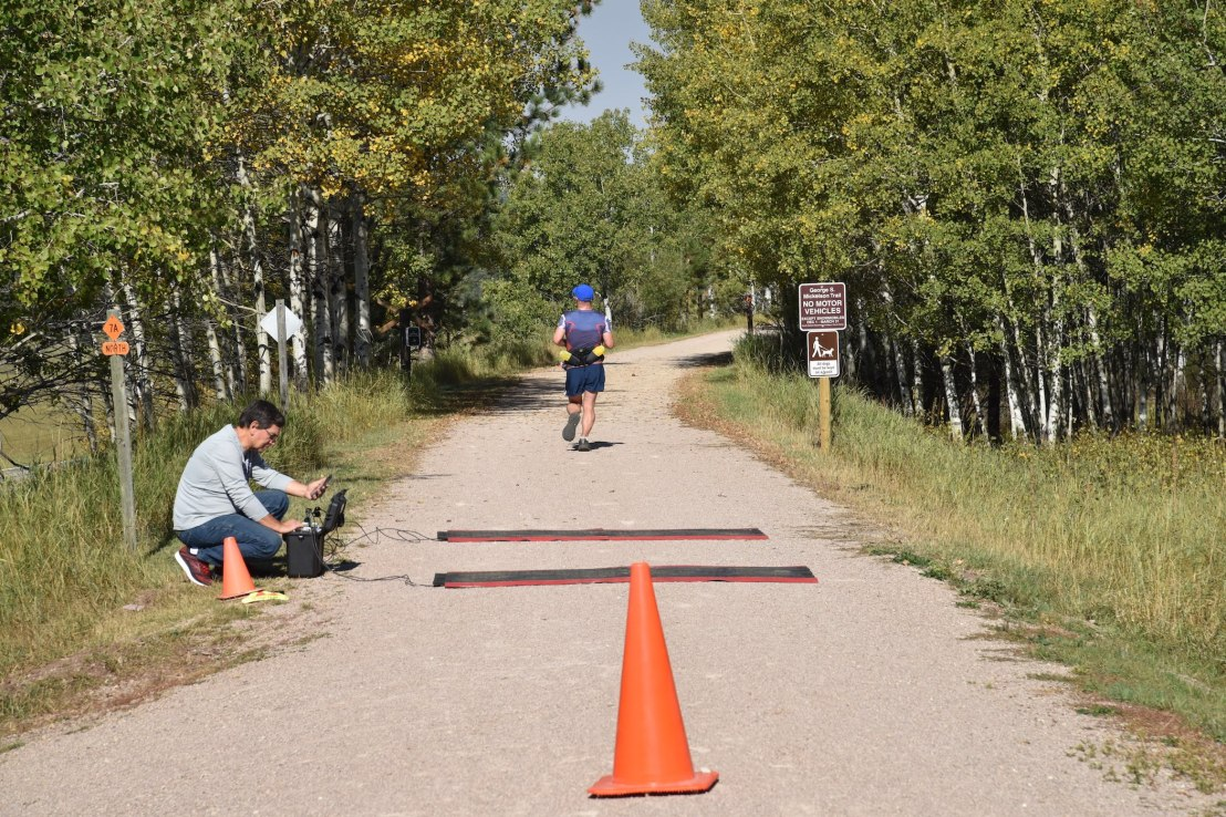 A participant crosses a timed checkpoint.